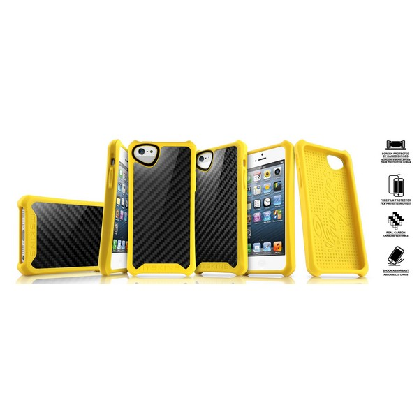 ITSKINS ATOM SHEEN CARBON Backcover gelb für Apple iPhone 5| iPhone 5G| iPhone 5S| iPhone SE|