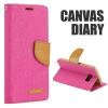 FLIP BOOK CASE FANCY CANVAS DIARY pink für Huawei P Smart
